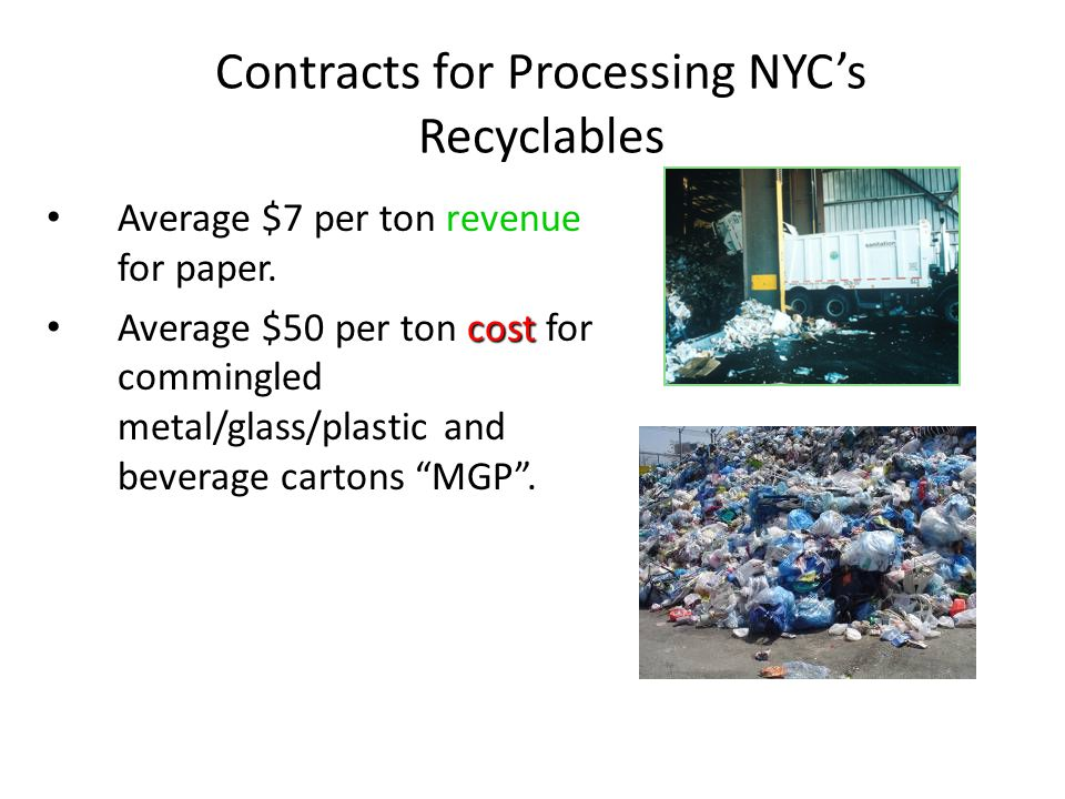 Contracts for Processing NYC's Recyclables Average $7 per ton revenue for paper. cost Average $50 per ton cost for commingled metal/glass/plastic and