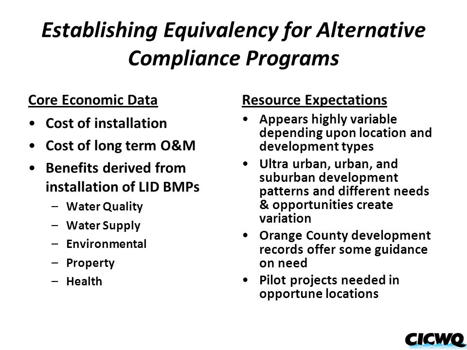 Establishing Equivalency for Alternative Compliance Programs Core Economic Data Cost of installation Cost of long term O&M Benefits derived from insta