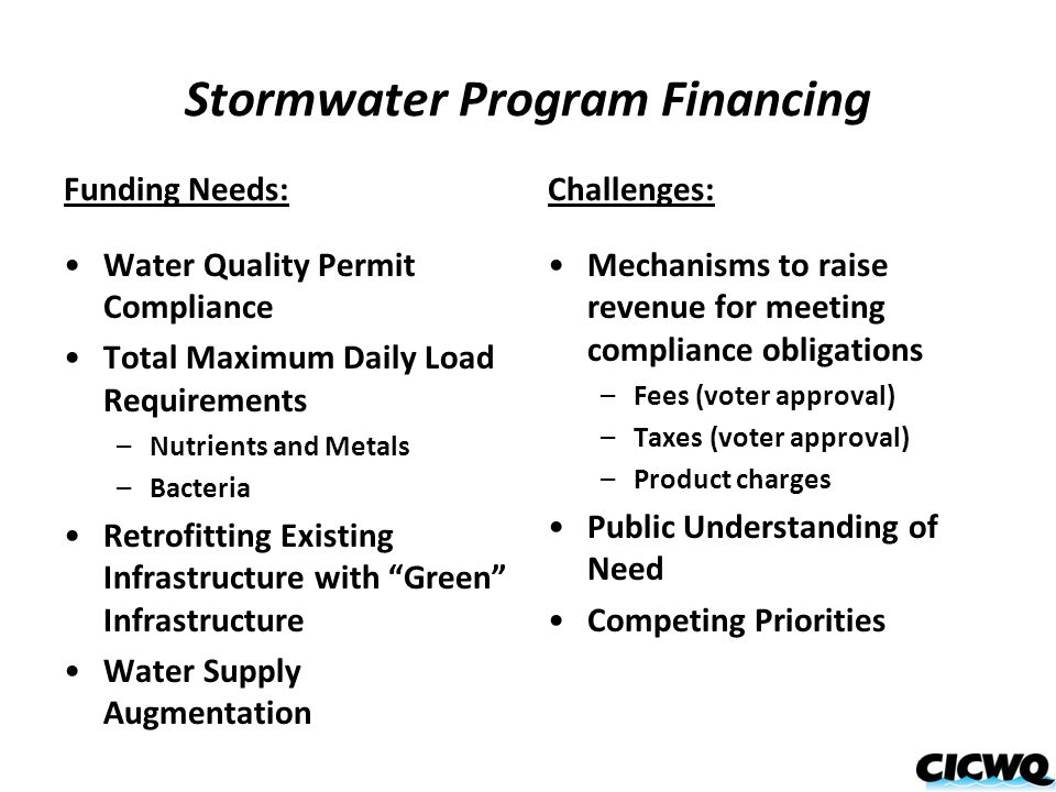 Stormwater Program Financing Funding Needs: Water Quality Permit Compliance Total Maximum Daily Load Requirements –Nutrients and Metals –Bacteria Retrofitting Existing Infrastructure with Green Infrastructure Water Supply Augmentation Challenges: Mechanisms to raise revenue for meeting compliance obligations –Fees (voter approval) –Taxes (voter approval) –Product charges Public Understanding of Need Competing Priorities