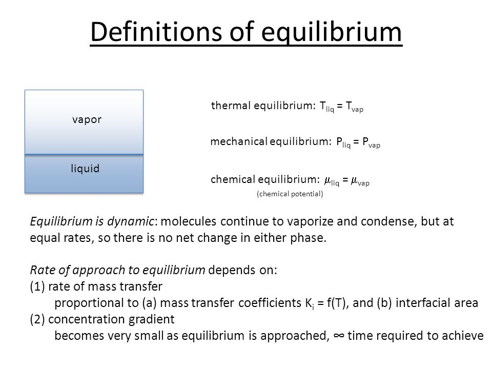 Definitions of equilibrium liquid vapor thermal equilibrium: T liq = T vap mechanical equilibrium: P liq = P vap chemical equilibrium:  liq =  vap (chemical potential) Equilibrium is dynamic: molecules continue to vaporize and condense, but at equal rates, so there is no net change in either phase.