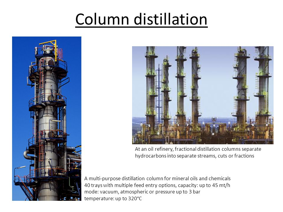 A multi-purpose distillation column for mineral oils and chemicals 40 trays with multiple feed entry options, capacity: up to 45 mt/h mode: vacuum, at