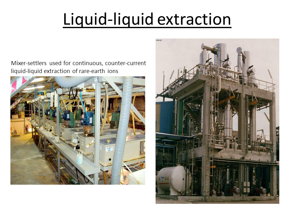 Liquid-liquid extraction Mixer-settlers used for continuous, counter-current liquid-liquid extraction of rare-earth ions