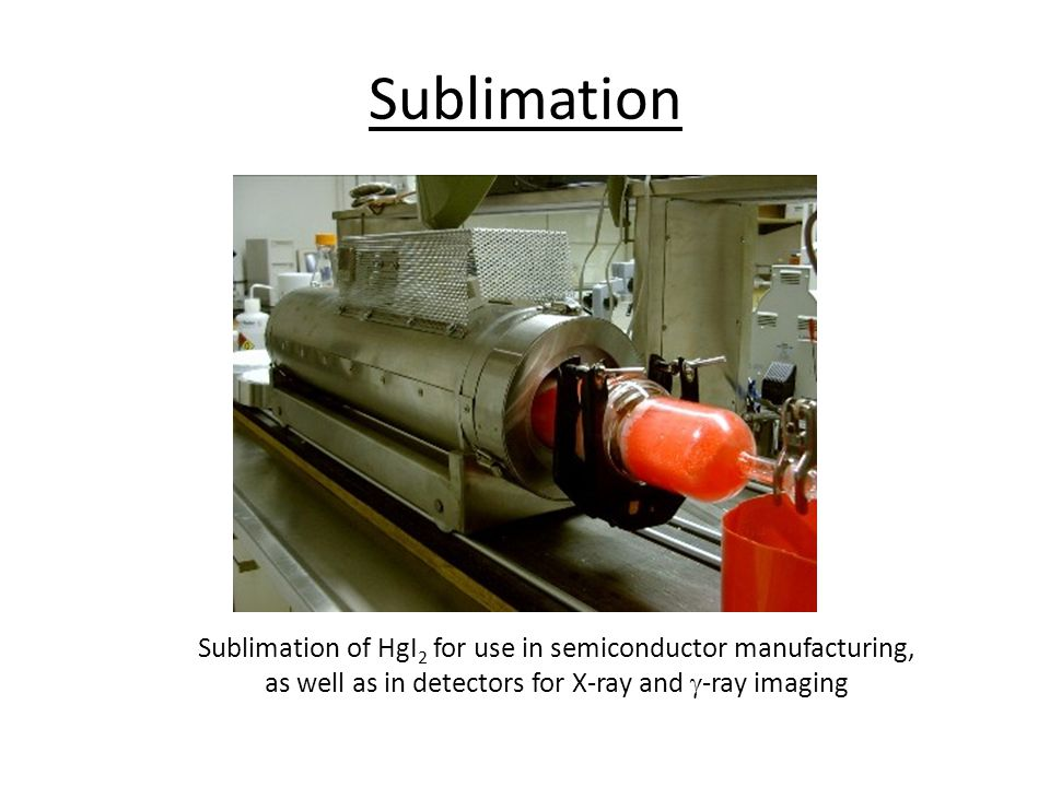 Sublimation Sublimation of HgI 2 for use in semiconductor manufacturing, as well as in detectors for X-ray and  -ray imaging