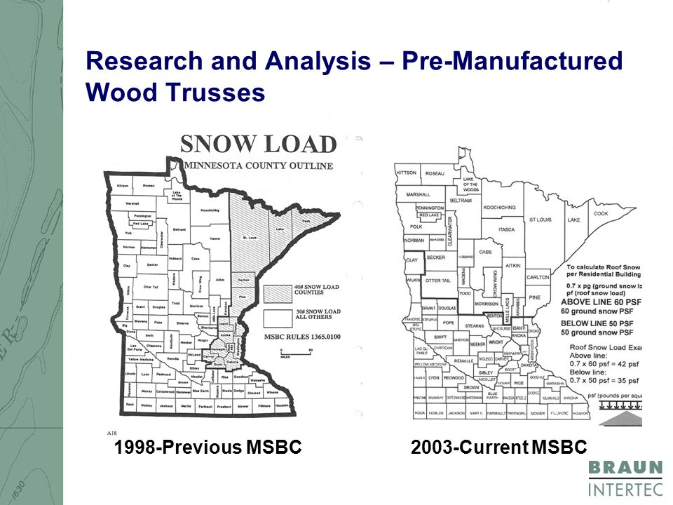 Research and Analysis – Pre-Manufactured Wood Trusses 1998-Previous MSBC2003-Current MSBC