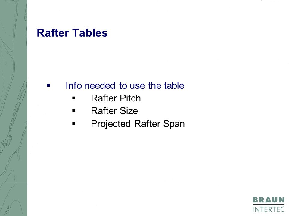 Rafter Tables  Info needed to use the table  Rafter Pitch  Rafter Size  Projected Rafter Span