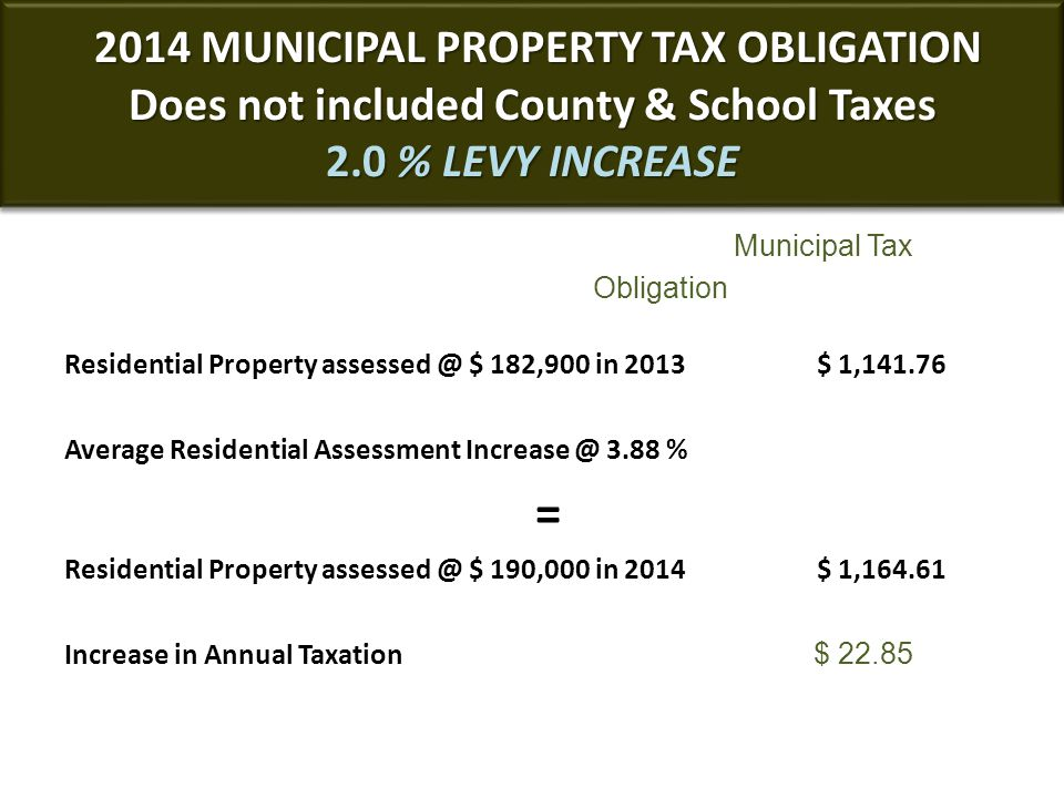 2014 MUNICIPAL PROPERTY TAX OBLIGATION Does not included County & School Taxes 2.0 % LEVY INCREASE 2014 MUNICIPAL PROPERTY TAX OBLIGATION Does not included County & School Taxes 2.0 % LEVY INCREASE Municipal Tax Obligation Residential Property assessed @ $ 182,900 in 2013 $ 1,141.76 Average Residential Assessment Increase @ 3.88 % = Residential Property assessed @ $ 190,000 in 2014 $ 1,164.61 Increase in Annual Taxation $ 22.85