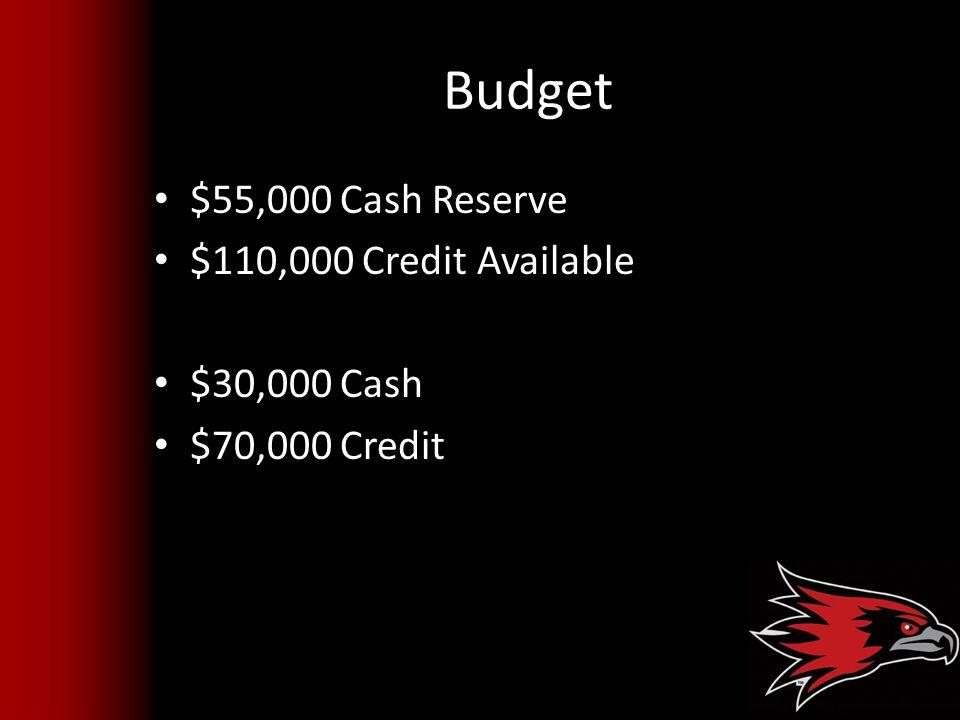 Budget $55,000 Cash Reserve $110,000 Credit Available $30,000 Cash $70,000 Credit