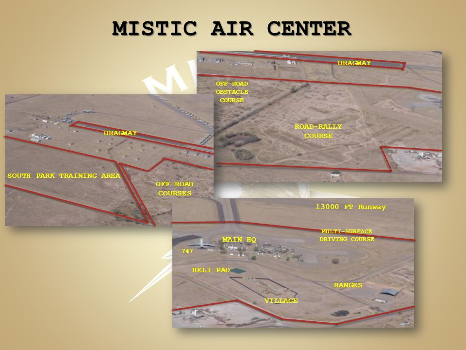 MISTIC AIR CENTER 13000 FT Runway MAIN HQ VILLAGE OFF-ROAD COURSES SOUTH PARK TRAINING AREA DRAGWAY RANGES HELI-PAD MULTI-SURFACE DRIVING COURSE DRAGW