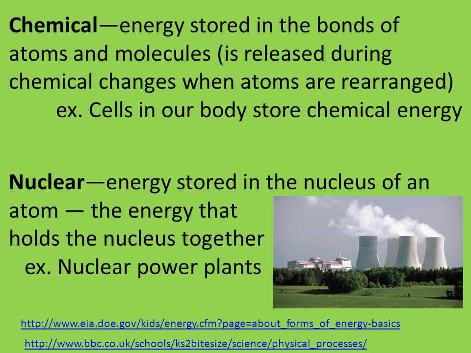 Chemical—energy stored in the bonds of atoms and molecules (is released during chemical changes when atoms are rearranged) ex. Cells in our body store