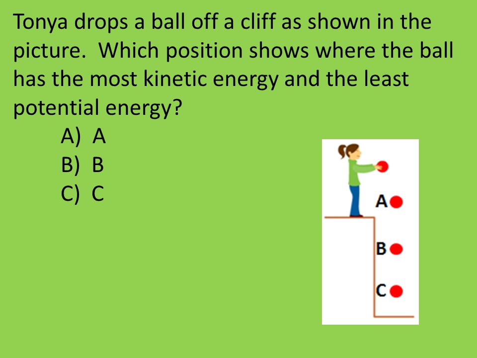 Tonya drops a ball off a cliff as shown in the picture. Which position shows where the ball has the most kinetic energy and the least potential energy