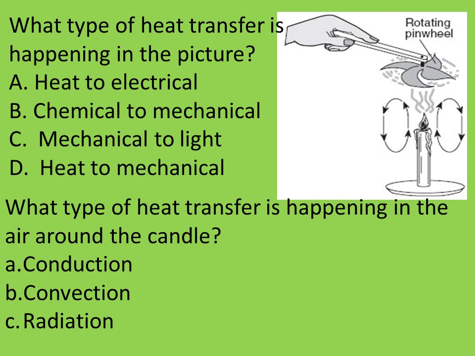 What type of heat transfer is happening in the picture? A. Heat to electrical B. Chemical to mechanical C. Mechanical to light D. Heat to mechanical W