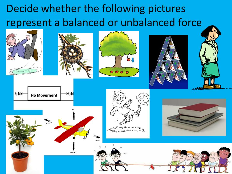 Decide whether the following pictures represent a balanced or unbalanced force