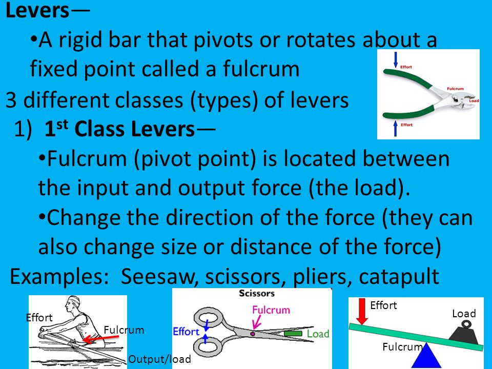 Levers— A rigid bar that pivots or rotates about a fixed point called a fulcrum 3 different classes (types) of levers 1) 1 st Class Levers— Fulcrum (p