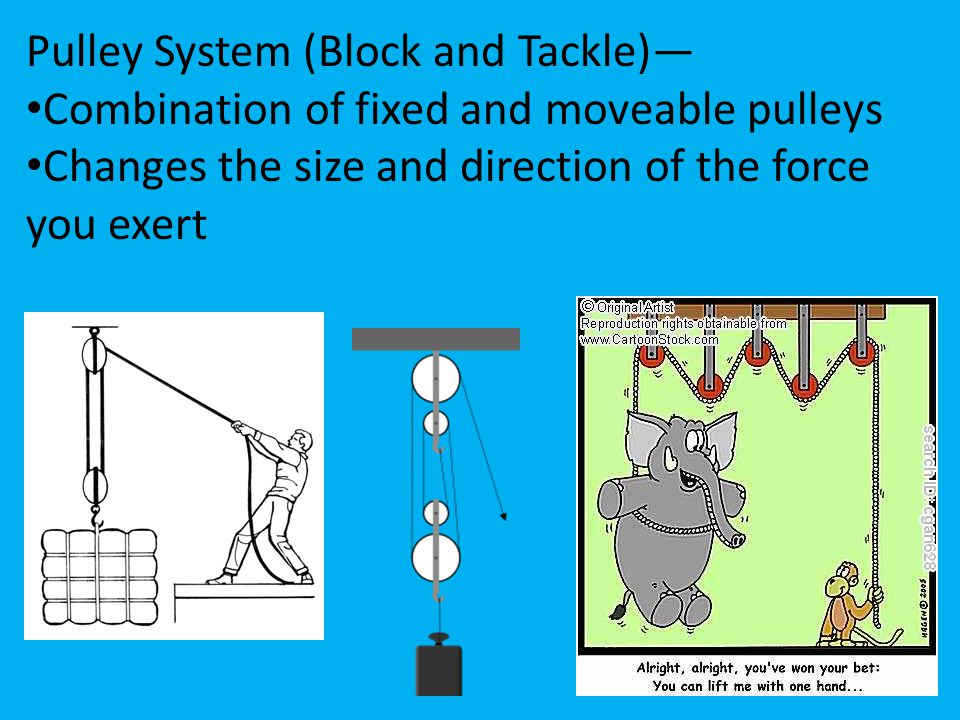 Pulley System (Block and Tackle)— Combination of fixed and moveable pulleys Changes the size and direction of the force you exert