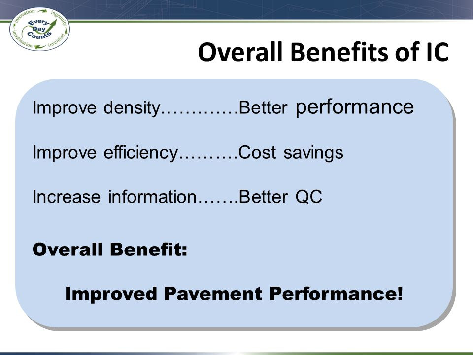 Overall Benefits of IC Improve density………….Better performance Improve efficiency……….Cost savings Increase information…….Better QC Overall Benefit: Improved Pavement Performance.