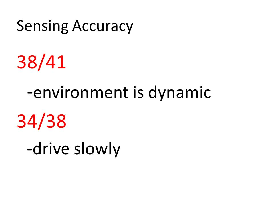 Sensing Accuracy 38/41 - environment is dynamic 34/38 -drive slowly