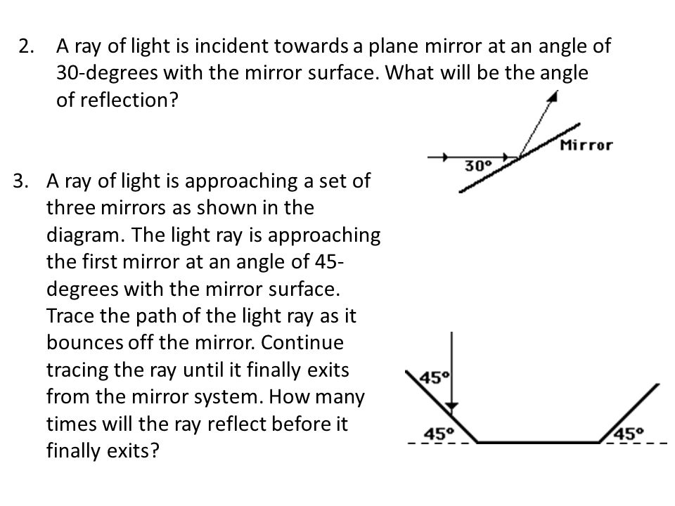 Class work – today's date 1.Identify which angle is angle of incidence and which angle is angle of reflection.