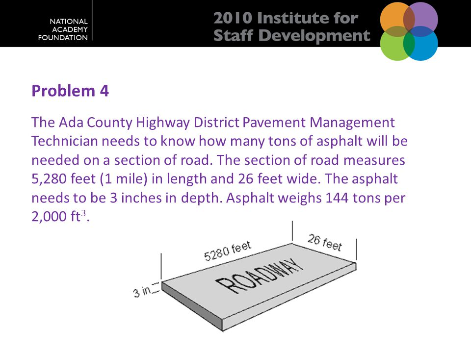 Problem 4 The Ada County Highway District Pavement Management Technician needs to know how many tons of asphalt will be needed on a section of road.