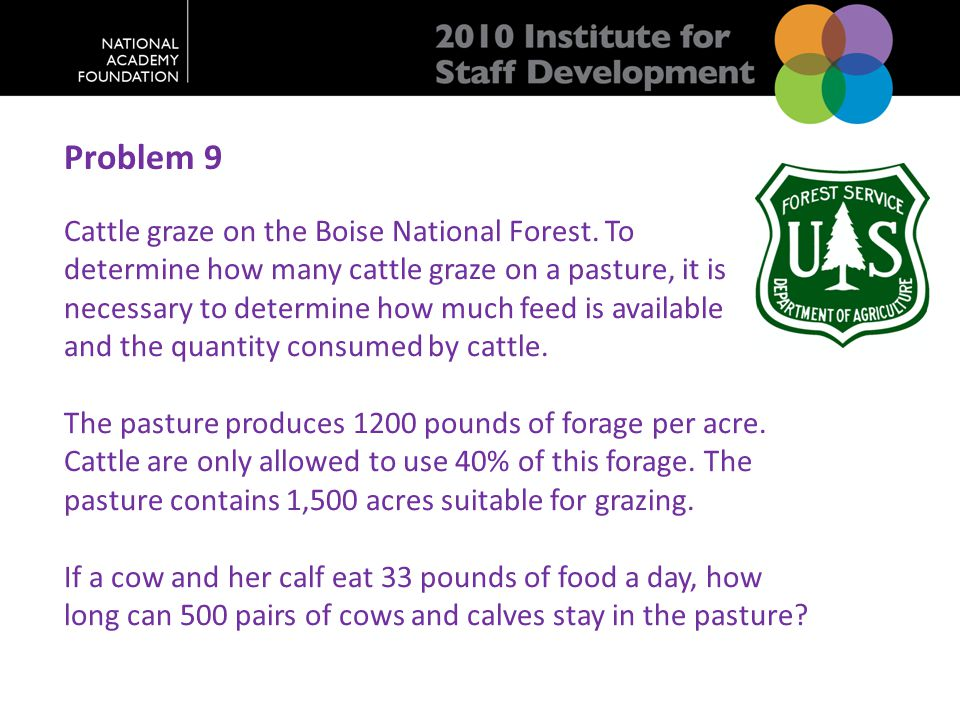 Problem 9 Cattle graze on the Boise National Forest.