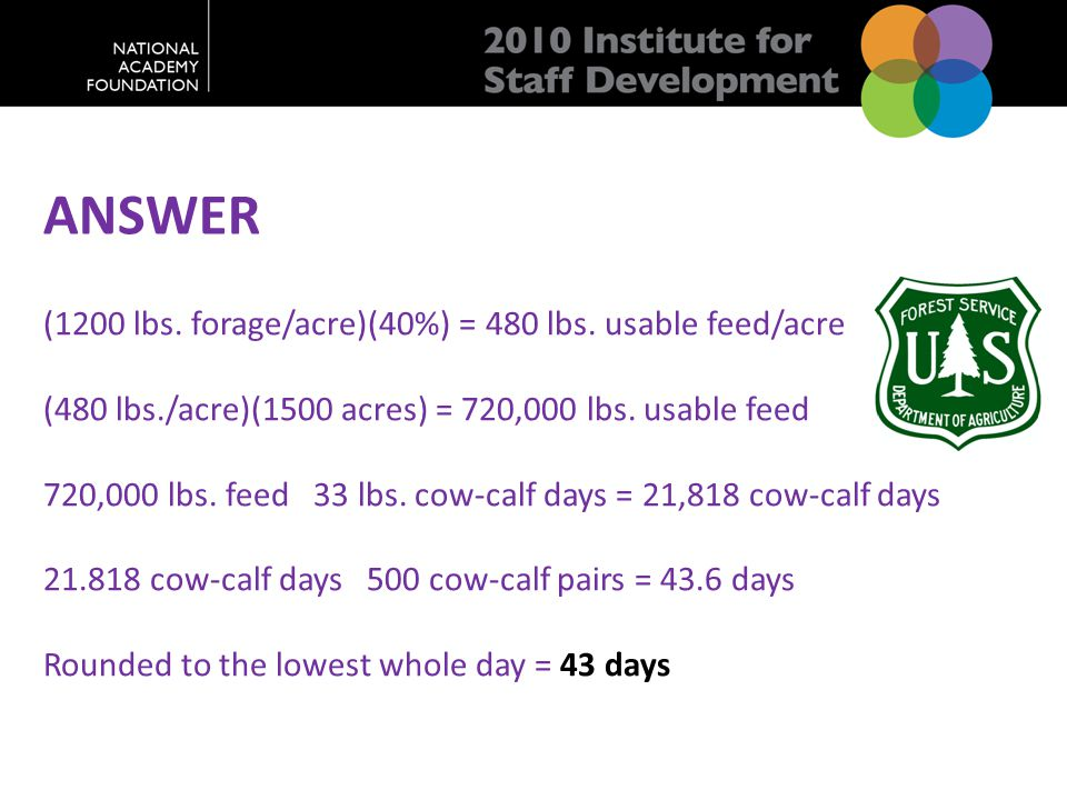 ANSWER (1200 lbs. forage/acre)(40%) = 480 lbs.