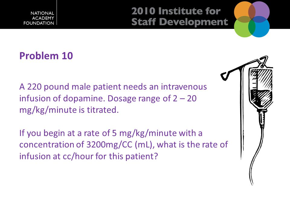 Problem 10 A 220 pound male patient needs an intravenous infusion of dopamine.