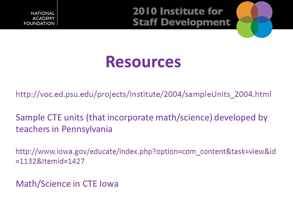 Resources http://voc.ed.psu.edu/projects/Institute/2004/sampleUnits_2004.html Sample CTE units (that incorporate math/science) developed by teachers in Pennsylvania http://www.iowa.gov/educate/index.php?option=com_content&task=view&id =1132&Itemid=1427 Math/Science in CTE Iowa
