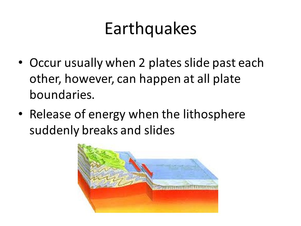 Earthquakes Occur usually when 2 plates slide past each other, however, can happen at all plate boundaries.