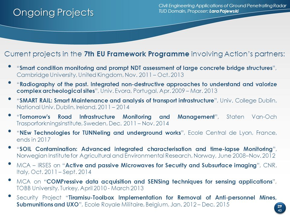 Ongoing Projects Current projects in the 7th EU Framework Programme involving Action's partners: Civil Engineering Applications of Ground Penetrating
