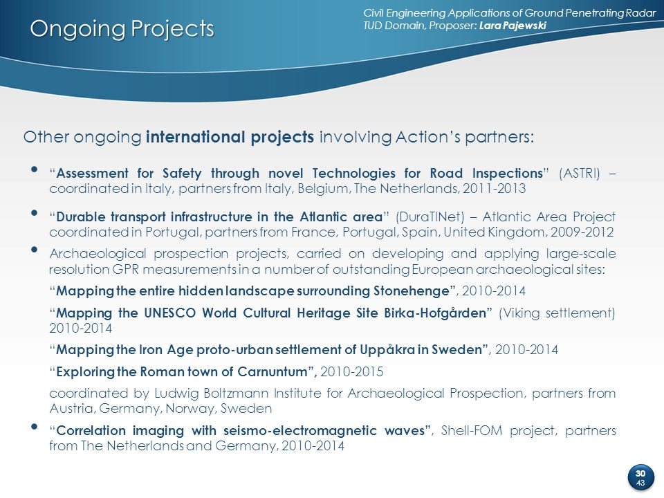 """Ongoing Projects Other ongoing international projects involving Action's partners: """" Assessment for Safety through novel Technologies for Road Inspect"""