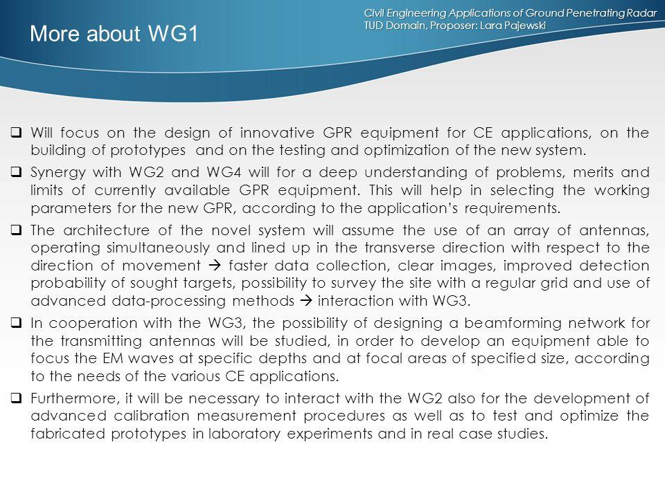 Civil Engineering Applications of Ground Penetrating Radar TUD Domain, Proposer: Lara Pajewski  Will focus on the design of innovative GPR equipment