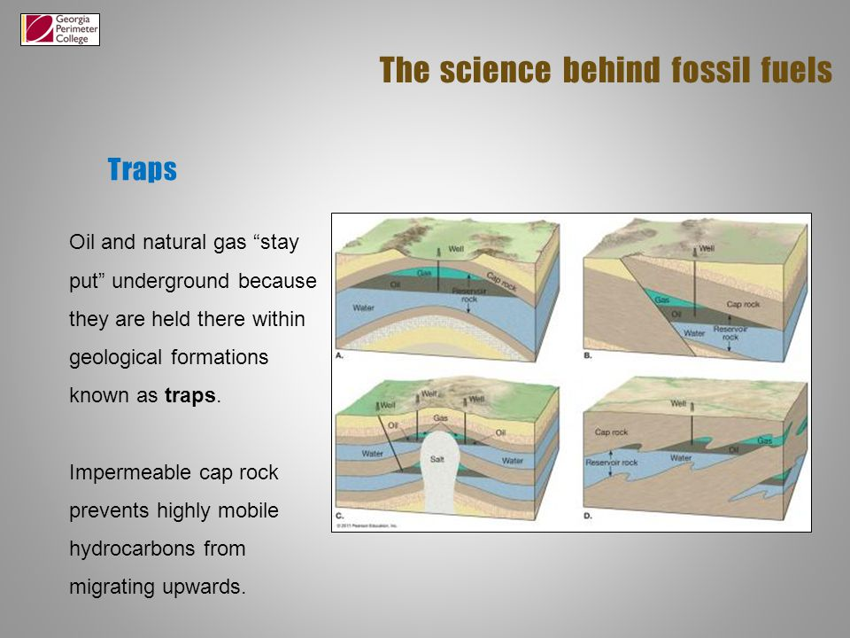 Traps The science behind fossil fuels Oil and natural gas stay put underground because they are held there within geological formations known as traps.