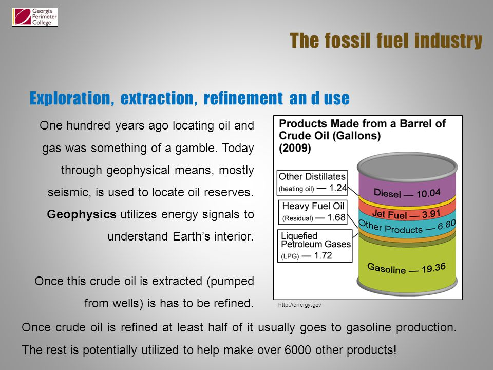 Exploration, extraction, refinement an d use The fossil fuel industry One hundred years ago locating oil and gas was something of a gamble.