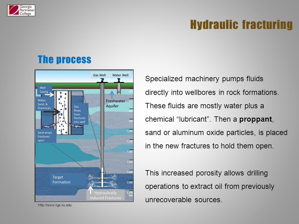 The process Hydraulic fracturing Specialized machinery pumps fluids directly into wellbores in rock formations.