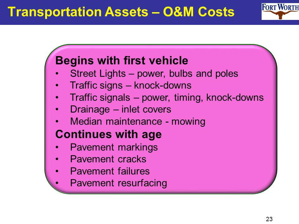 23 Transportation Assets – O&M Costs Begins with first vehicle Street Lights – power, bulbs and poles Traffic signs – knock-downs Traffic signals – po