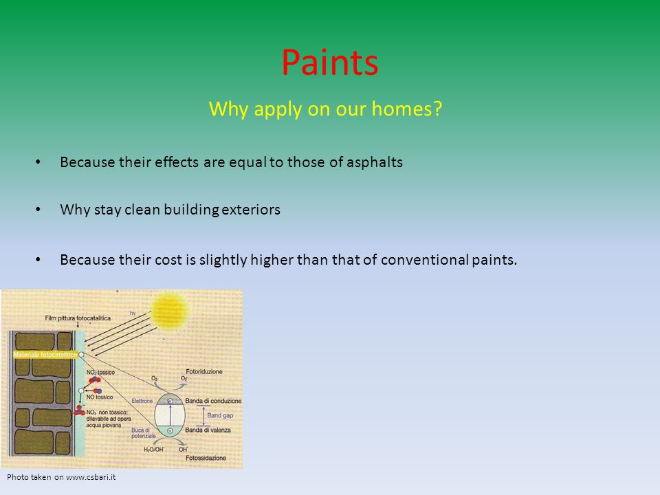 Paints Why apply on our homes? Because their effects are equal to those of asphalts Why stay clean building exteriors Because their cost is slightly h