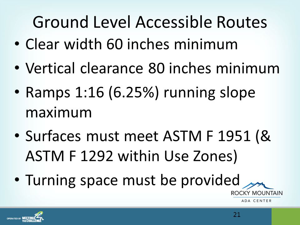 OPERATED BY Ground Level Accessible Routes Clear width 60 inches minimum Vertical clearance 80 inches minimum Ramps 1:16 (6.25%) running slope maximum Surfaces must meet ASTM F 1951 (& ASTM F 1292 within Use Zones) Turning space must be provided 21
