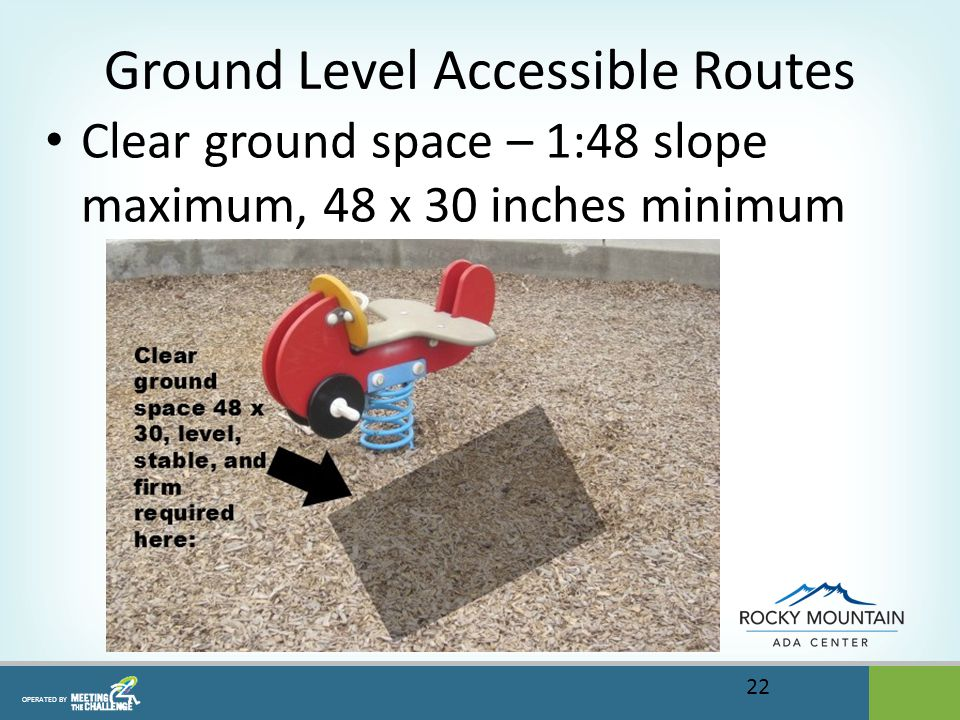OPERATED BY Ground Level Accessible Routes Clear ground space – 1:48 slope maximum, 48 x 30 inches minimum 22