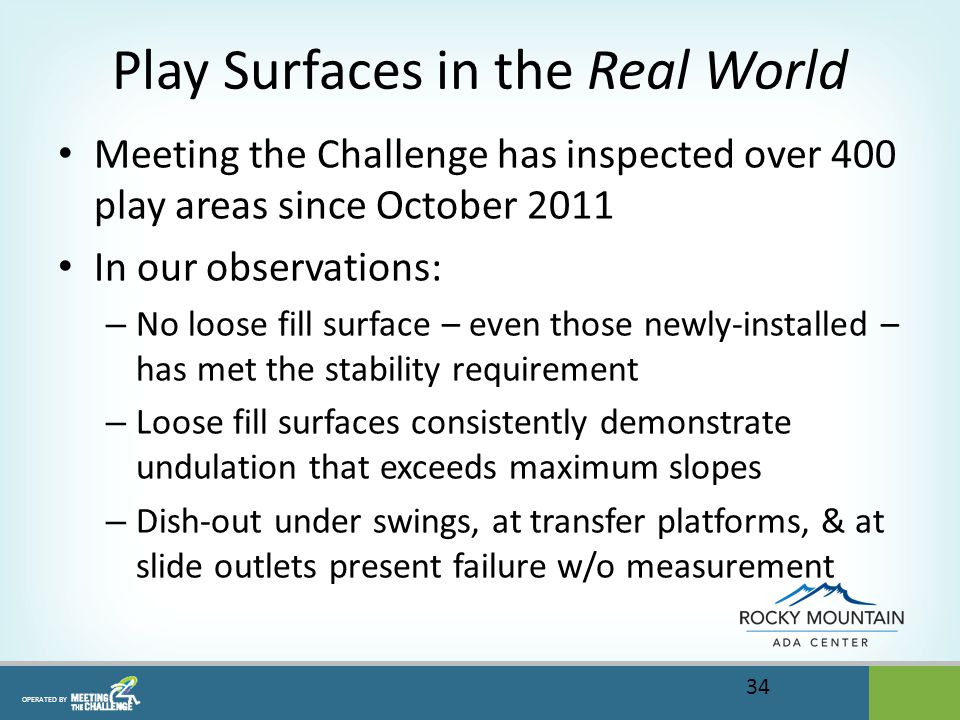 OPERATED BY Play Surfaces in the Real World Meeting the Challenge has inspected over 400 play areas since October 2011 In our observations: – No loose fill surface – even those newly-installed – has met the stability requirement – Loose fill surfaces consistently demonstrate undulation that exceeds maximum slopes – Dish-out under swings, at transfer platforms, & at slide outlets present failure w/o measurement 34
