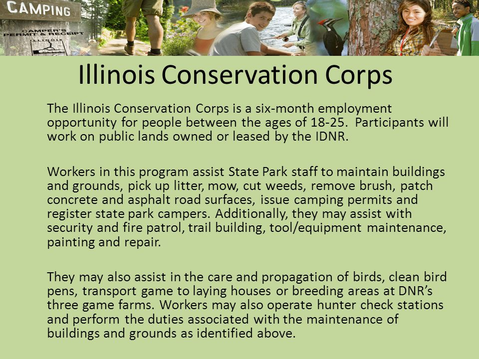Illinois Conservation Corps The Illinois Conservation Corps is a six-month employment opportunity for people between the ages of 18-25.