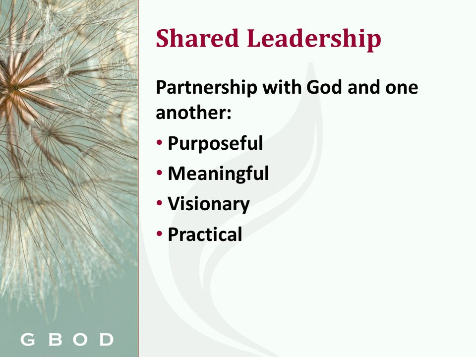 Shared Leadership Partnership with God and one another: Purposeful Meaningful Visionary Practical