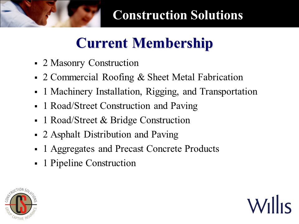 Current Membership  2 Masonry Construction  2 Commercial Roofing & Sheet Metal Fabrication  1 Machinery Installation, Rigging, and Transportation  1 Road/Street Construction and Paving  1 Road/Street & Bridge Construction  2 Asphalt Distribution and Paving  1 Aggregates and Precast Concrete Products  1 Pipeline Construction Construction Solutions