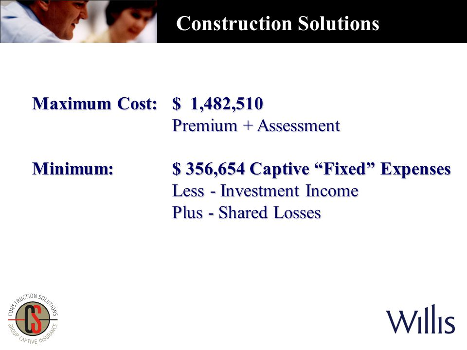 Maximum Cost: $ 1,482,510 Premium + Assessment Minimum: $ 356,654 Captive Fixed Expenses Less - Investment Income Plus - Shared Losses Construction Solutions
