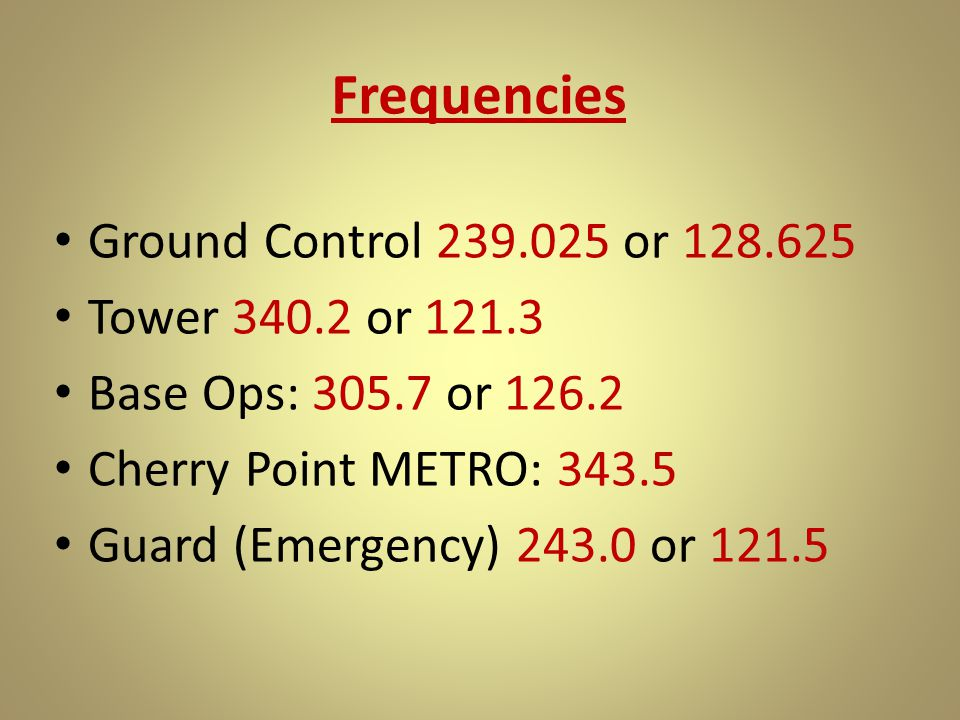 Frequencies Ground Control 239.025 or 128.625 Tower 340.2 or 121.3 Base Ops: 305.7 or 126.2 Cherry Point METRO: 343.5 Guard (Emergency) 243.0 or 121.5