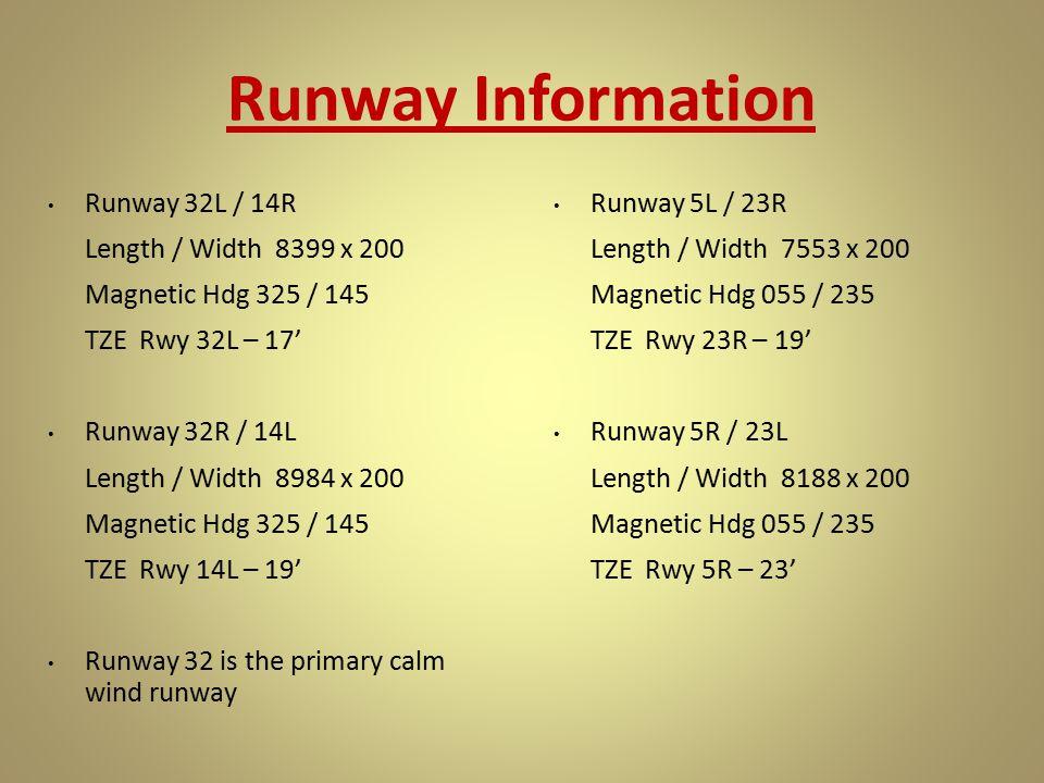 Runway Information Runway 32L / 14R Length / Width 8399 x 200 Magnetic Hdg 325 / 145 TZE Rwy 32L – 17' Runway 32R / 14L Length / Width 8984 x 200 Magn