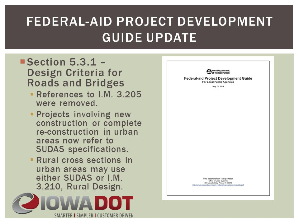  Section 5.3.1 – Design Criteria for Roads and Bridges  References to I.M.