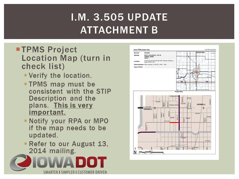  TPMS Project Location Map (turn in check list)  Verify the location.