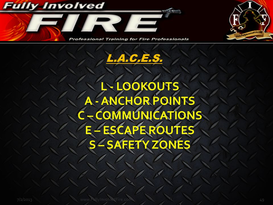 L - LOOKOUTS A - ANCHOR POINTS C – COMMUNICATIONS E – ESCAPE ROUTES S – SAFETY ZONES 7/2/201349www.FullyInvolvedFire.com L.A.C.E.S.