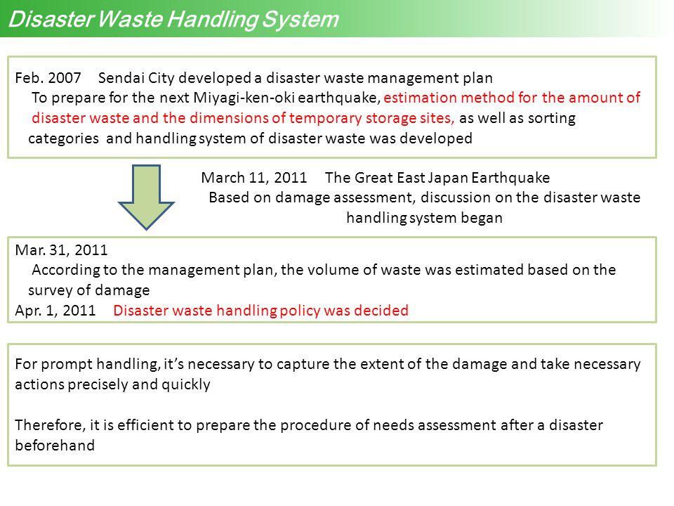 Disaster Waste Handling System Feb. 2007 Sendai City developed a disaster waste management plan To prepare for the next Miyagi-ken-oki earthquake, est