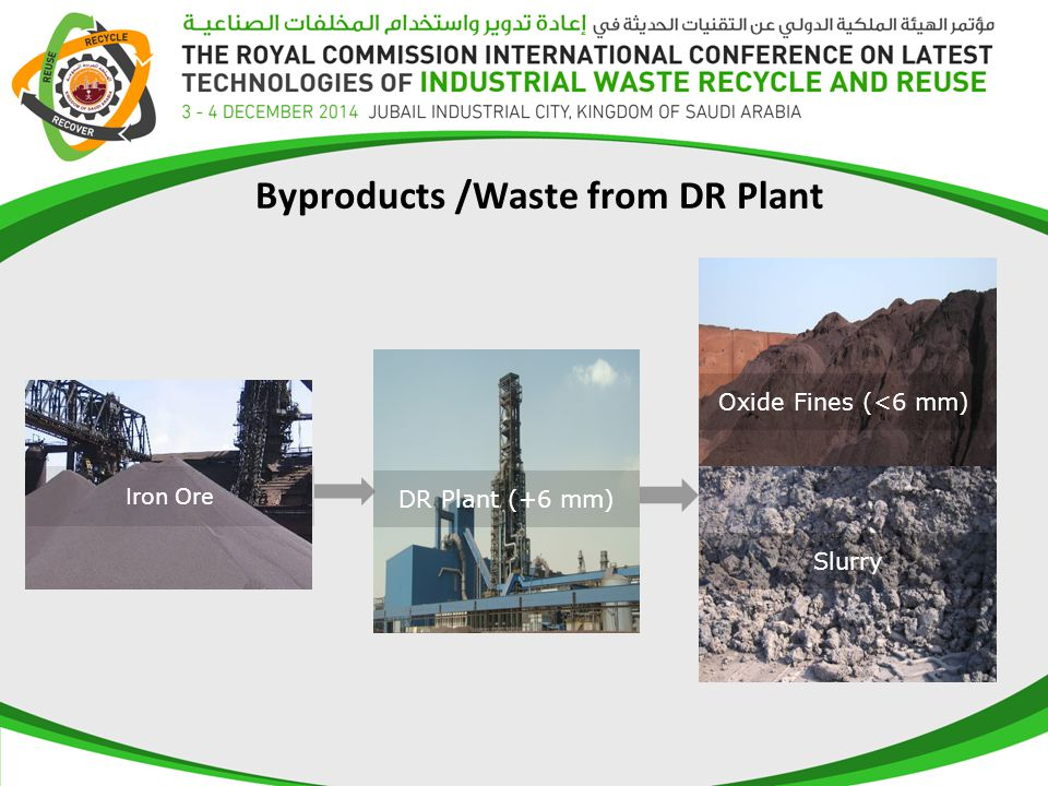 Byproducts /Waste from DR Plant Oxide Fines (<6 mm) Iron Ore Slurry DR Plant (+6 mm)