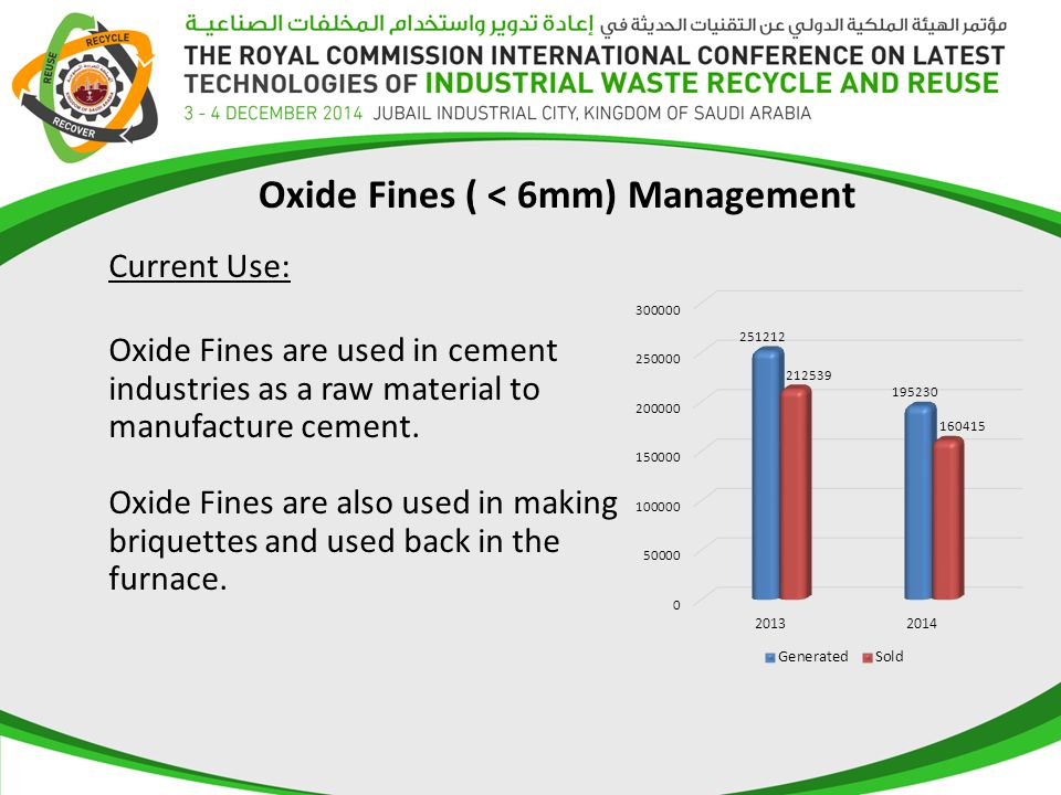 Oxide Fines are used in cement industries as a raw material to manufacture cement. Oxide Fines are also used in making briquettes and used back in the